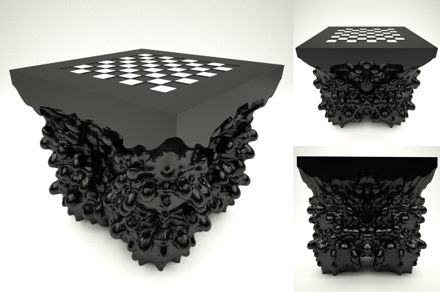 Furniture: Embryo Chess Table. In Development. CNC Milled Side Table Based  On Embryologics Research.